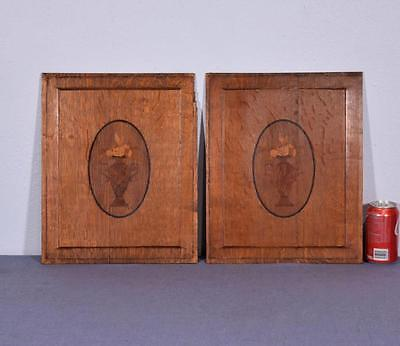 *Pair of Antique French Inlaid Marquetry Solid Oak Panels with Urns
