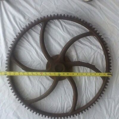 """Large Vintage industrial steampunk iron gear sprocket 100 tooth  24"""" DIA. base"""