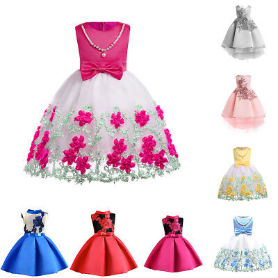 New Flower Dress Princess Evening Tutu Size Baby Party Wedding Bridesmaid Girl