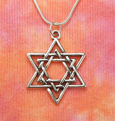 Double Magen David Necklace (Large version) Jewish Star of David Judaica Shield