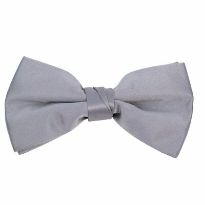 Formal Solid Polyester Boy's Bow Tie-Gray