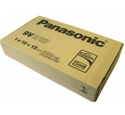 12x 9V Panasonic Heavy Duty Genuine Zinc Carbon 6F22 Block Batteries - FULL BOX