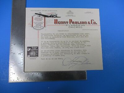 Vintage Henry Paulson & Co Thanksgiving Air Service Letterhead M5889