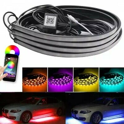 Smart Phone App Control 4pcs RGB LED Strips Car Underbody Custom Chassis Lights