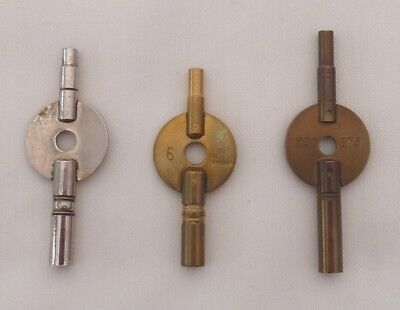 3 Brass / Chrome Double Ended Carriage Clock Winding Keys