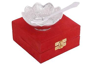 Silver Plated Floral Bowl with Velvet Box, Standard Size - Pack of 2