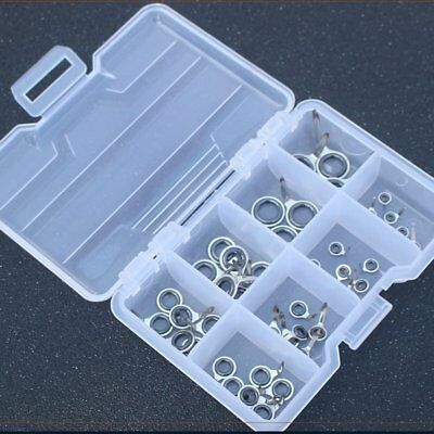 1 Set Fishing Rod Guides Tips Repair Kit Steel Ceramic Rings Guides with Case NS
