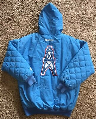8b5e1ddef Vintage NFL Houston Oilers Throwback Starter Parka Full Zip Hooded Jacket  SZ L