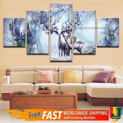 5 Pieces Home Decor Canvas Print Wall Art Psychedelic Animal Flowers Deer Trees