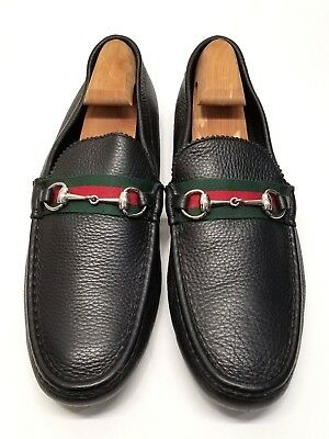 25c2495eb NEW GUCCI MEN'S 157440 Black Leather Red Green Web Horsebit Loafers ...