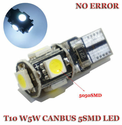 2x T10 Led Canbus Error Free 5 SMD Car Side Wedge light Bulb White 168 194 W5W