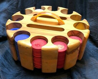 Vintage Wood Poker Chip Caddy Carousel with Bakelite Handle