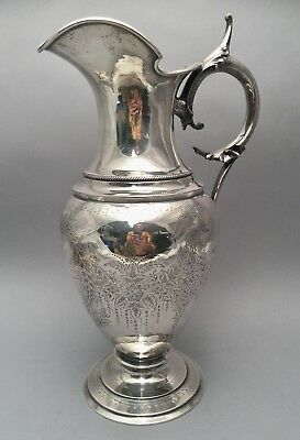 Silver Ewer With Floral & Leaf Chasing by Wood & Hughes