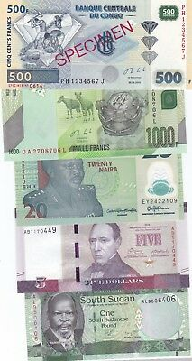 Africa Lot Of 5 Different Banknotes Includes Congo 500Fr Specimen,(S)