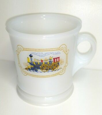 Vintage Avon Steam Train Engine Milk glass Shaving Mug