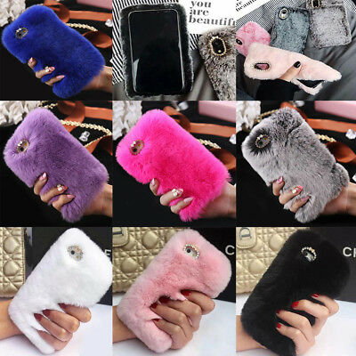 Luxury Furry Rabbit Fur Crystal Rhinestone Soft Case Cover For Various Mobile