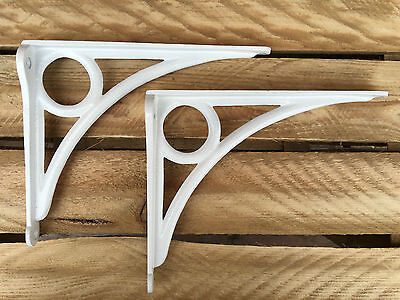 "Pair White 8x6"" ANTIQUE HEAVY CAST IRON VICTORIAN SHELF WALL BRACKETS - BR24wx2"