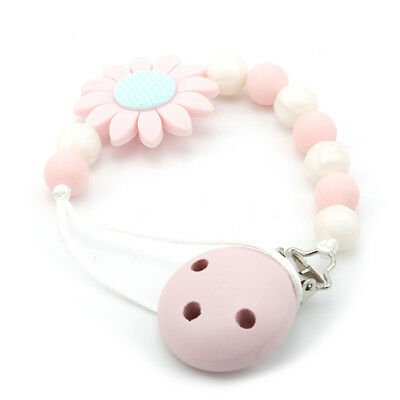 Baby Pacifier Clip Chain Holder Silicone Beads Nipple Dummy Chew Toy Gift LH