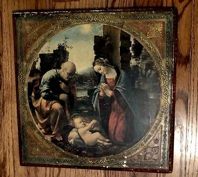 Vintage F.lli Alinari Wood Plaque Gold Gilded Picture Fratelli Firenze Italy