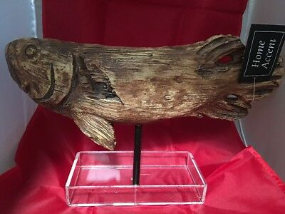 "VINTAGE CABIN WOOD CARVED 13"" SCULPTURE RAINBOW TROUT FISH CARVING Resin Stand"