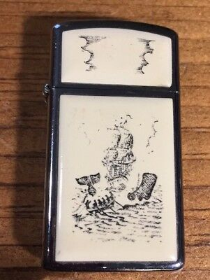 Vintage ZIPPO Cigarette Lighter With Whale & Ship Design