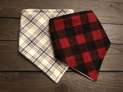 Multi Plaid Holiday Pattern Baby Bib Bandana Drool Girl Boy Gift Set Shower