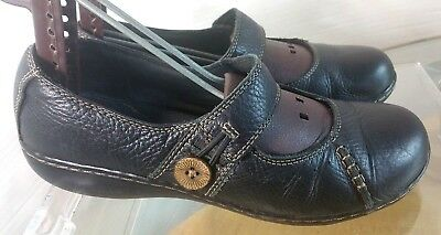 8b7f5c1bfa6 CLARKS SOMERSET Mary Jane Leather Black T strap Shoes Womens Size ...