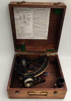 Vintage US Maritime Commission Stadimeter Sextant Type-SCHICK,INC in Wooden Case