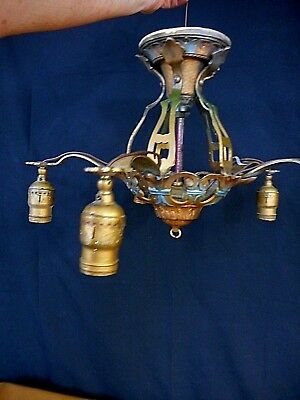 Vintage Art Deco 5 Light Ceiling Fixture 1930's Farmhouse needs restoration