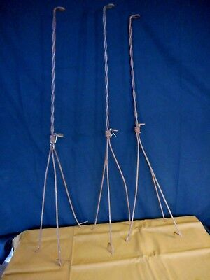 """Set of 3 Antique Lightning Rod Holders only Twisted Metal Salvage Farmhouse 40"""""""