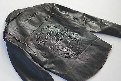 Harley Davidson Mens Vintage Artistry Iron Embossed Leather Jacket Black Rare M