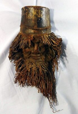 Hand Carved Bamboo Root Bearded Man Face Wood Wall Hanging Mask Vintage Antique