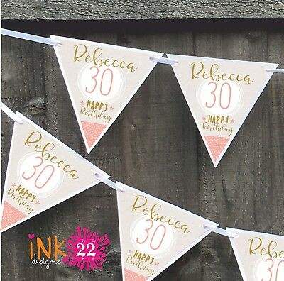 Personalised 18th, 21st, 30th, 40th, Birthday Party Banner Bunting Rose & Gold
