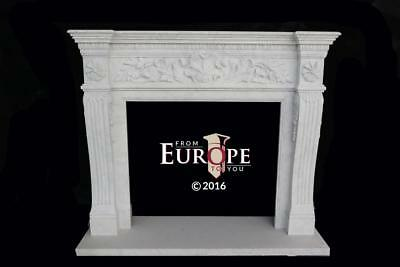 French Style Carrara Hand Carved Marble Estate Fireplace Mantel - Mby139