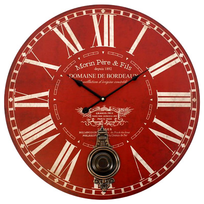 Large Red Morin Pere & Fils Wall Clock Antique/Vintage Look Dia.58cm
