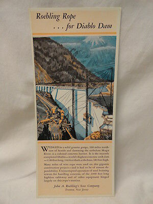 Roebling Rope for Diablo Dam Trenton NJ Colored Print Seattle WA 1930s Original
