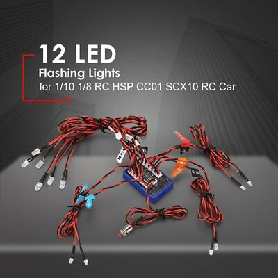 12 LED Flashing Bright Light Lamps for 1/10 1/8 RC HSP CC01 SCX10 RC Car ZW