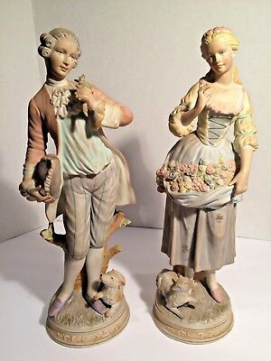 "Pair of Antique BISQUE Porcelain Figurines 14 1/2"" high, FRENCH, SIGNED"