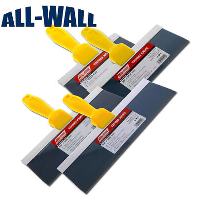"4-Piece Wal-Board Drywall Wall Board Taping Knife Set Blue Steel 8""-10""-12""-14"""