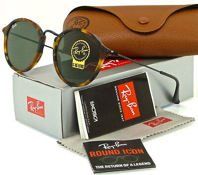 2b3a5d4090 Ray-Ban Round Fleck Tortoise and Black l Green Classic G-15 RB2447 1157