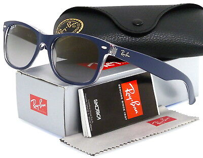 Ray-Ban New Wayfarer Top Matte Blue l Polarized Grey Gradient RB2132 6053M3 55mm