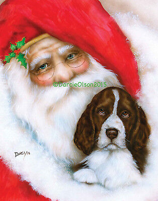 English Springer Spaniel and Santa Note cards