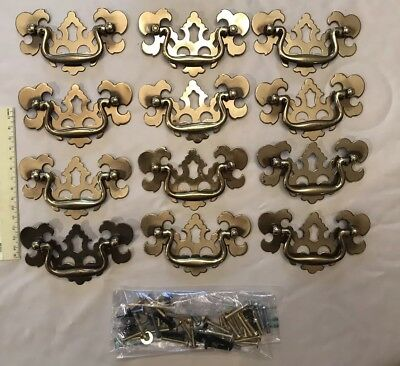 Brass Federal Chippendale Colonial Handle Drawer Pull 12 Pieces -  Used
