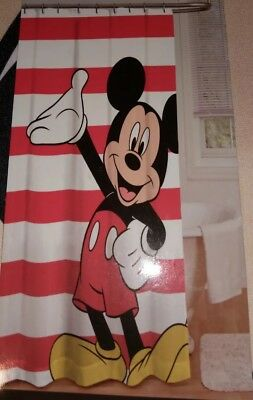 Disney Mickey Mouse Fabric Shower Curtain Waving Hand Red White Stripes 72x72