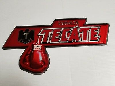 New Tecate acrylic beer liquor sign chrome foil reflect bar mancave boxing