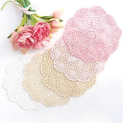 Crochet doilies white/ivory/cream/light pink/pink 20-22 cm for millinery/crafts