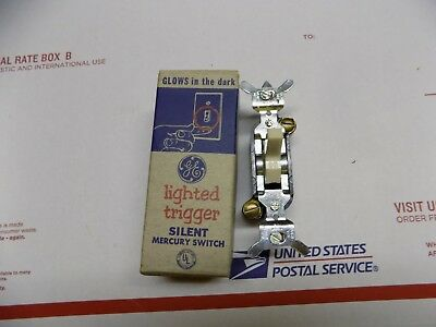 NOS Vintage GE General Electric Single Pole Lighted Ivory Mercury Wall Switch