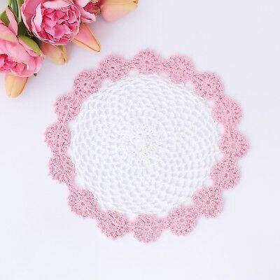 Crochet doily in Pink and white 23-24 cm for millinery , hair and crafts