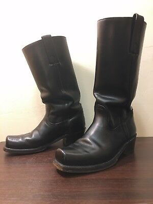 Frye Vintage 2226 Mens Cavalry Campus Motorcycle Black Leather Boots 8 D Rare