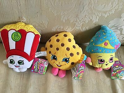 SHOPKINS PLUSH SET Cupcake Queen Cookie Popcorn Toy New Lot